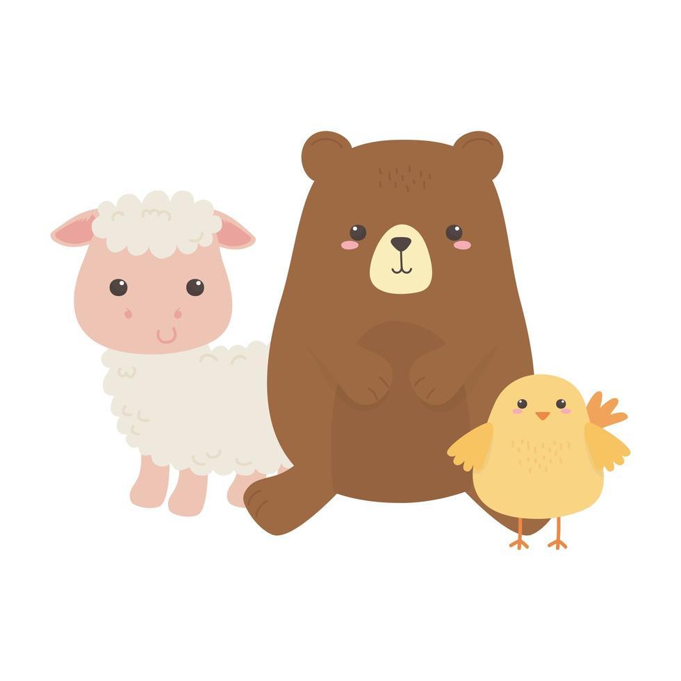 niedliche kleine Bär Huhn und Schaf Tier Cartoon isoliert Design vektor