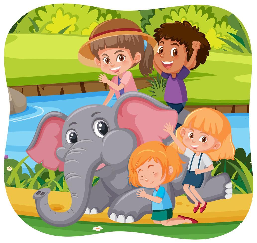 glückliche Kinder mit Tieren im Naturhintergrund vektor