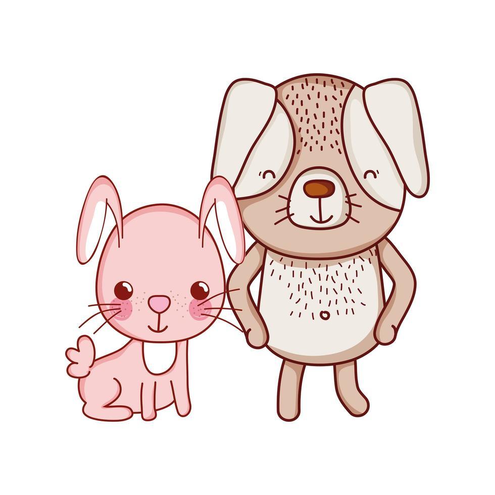 niedliche Tiere, Kaninchen und Hundekarikatur isolierten Ikonendesign vektor