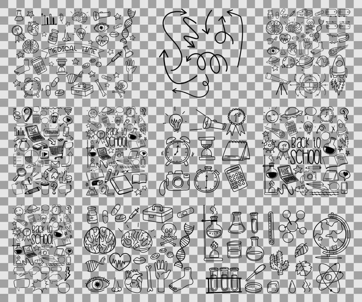 Satz gezeichneter Gekritzel der Objekt- und Symbolhand auf transparentem Hintergrund vektor