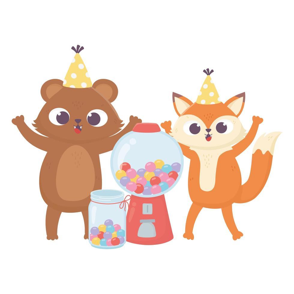 Glücklicher Tag, kleiner Bär mit Hut und süßen Süßigkeiten vektor