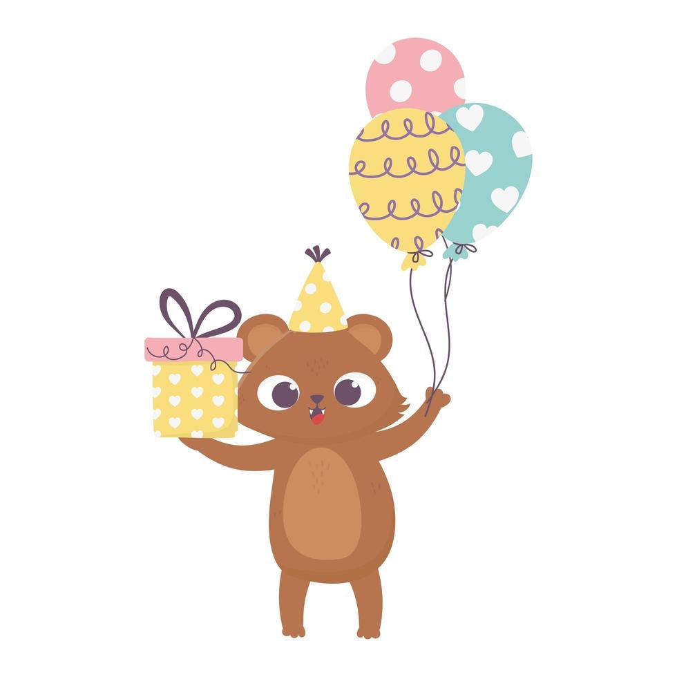 glücklicher Tag, kleiner Bär mit Geschenk und Luftballons Cartoon vektor