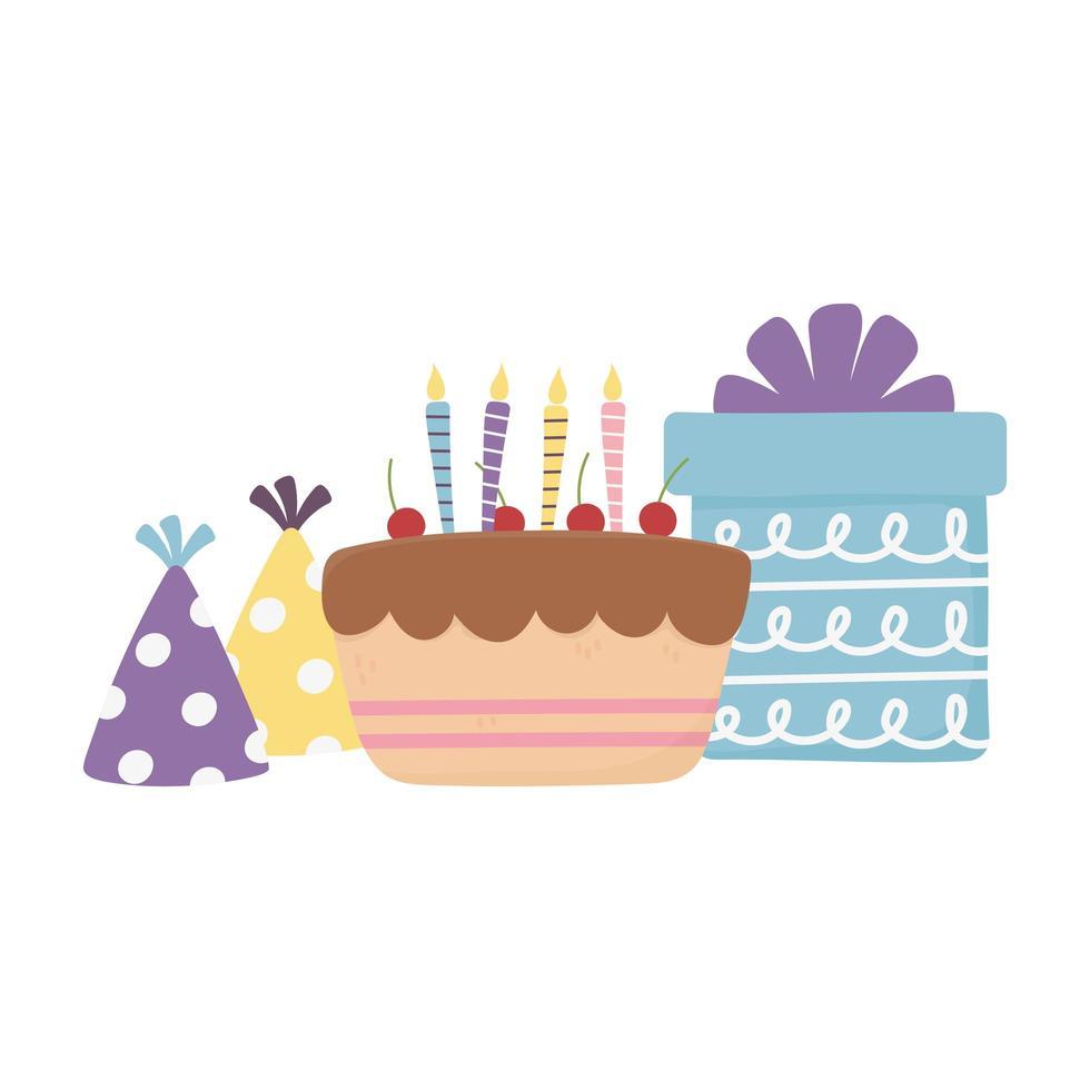 Happy Day, Kuchen Geschenkbox Party Hüte Feier Dekoration vektor