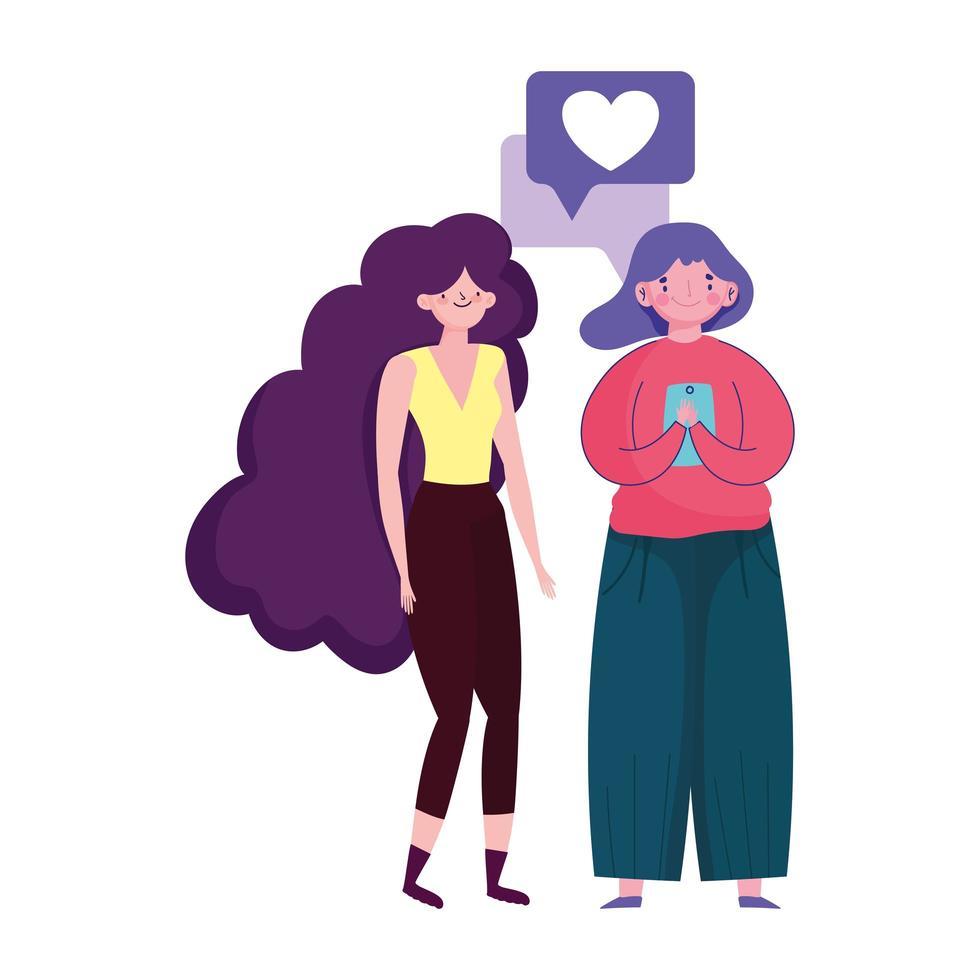 Menschen und Smartphone, Frauen, die mit digitalem Cartoon des mobilen Geräts gehen vektor