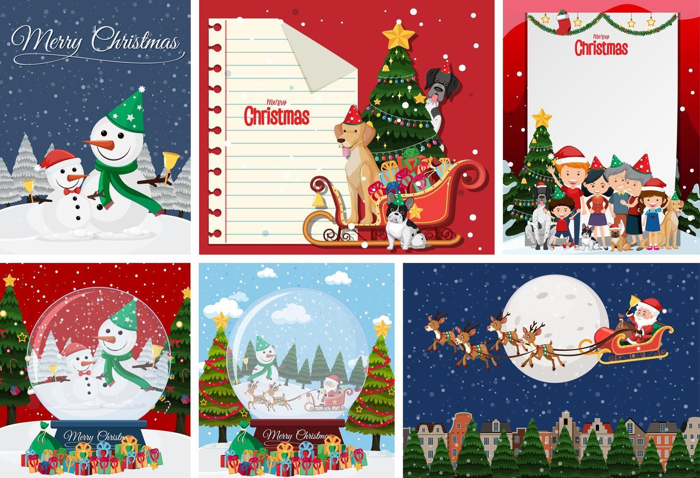 Satz leere Weihnachtspostkarte oder -plakat isoliert vektor