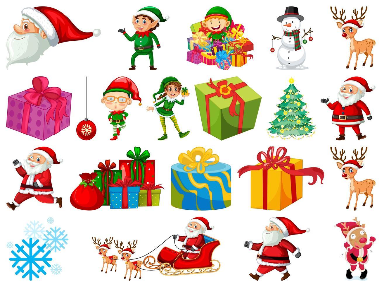 Satz Weihnachtsmann-Zeichentrickfigur und Weihnachtsobjekte lokalisiert auf weißem Hintergrund vektor