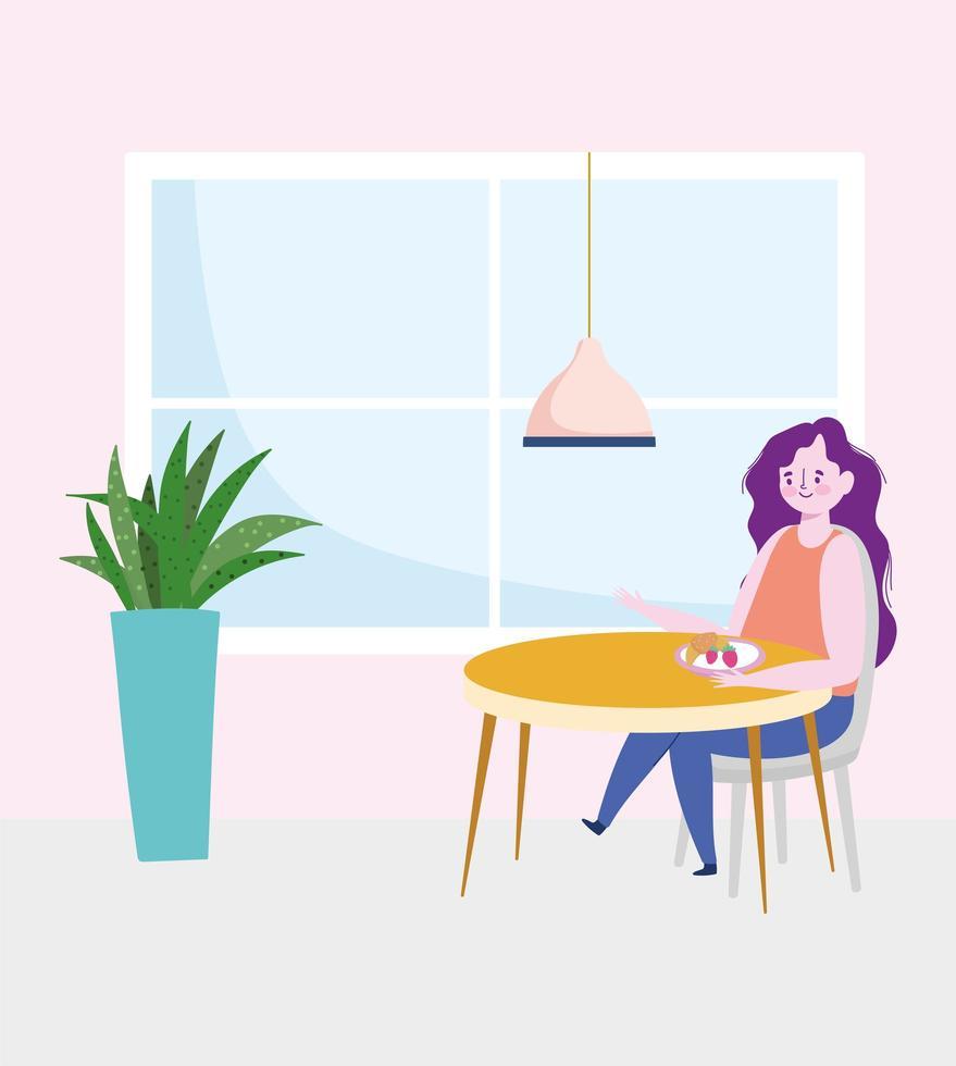Restaurant soziale Distanzierung, Frau isst Obst allein am Tisch, Prävention Covid 19 Coronavirus vektor