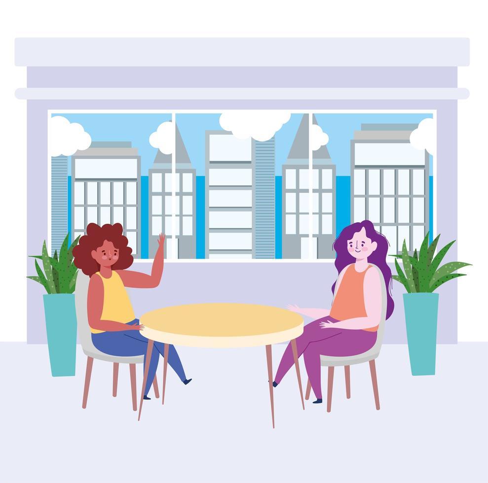 Restaurant soziale Distanzierung, zwei Frauen sprechen in neuen normalen, Covid 19 Coronavirus vektor