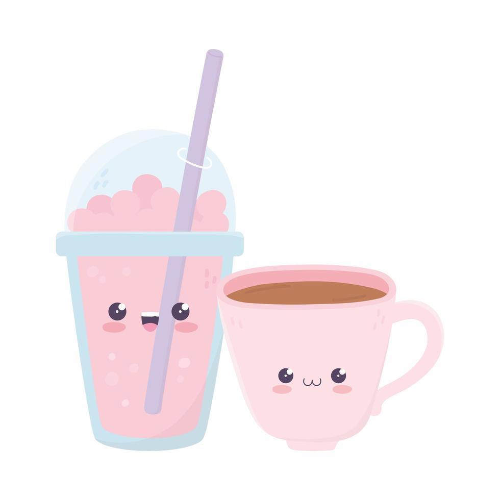 süße Kaffeetasse und Milchshake kawaii Zeichentrickfigur vektor