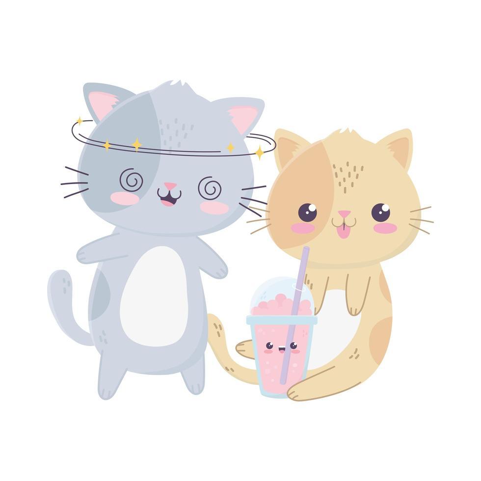 niedliche verrückte graue Katze und Katze mit Milchshake kawaii Zeichentrickfigur vektor
