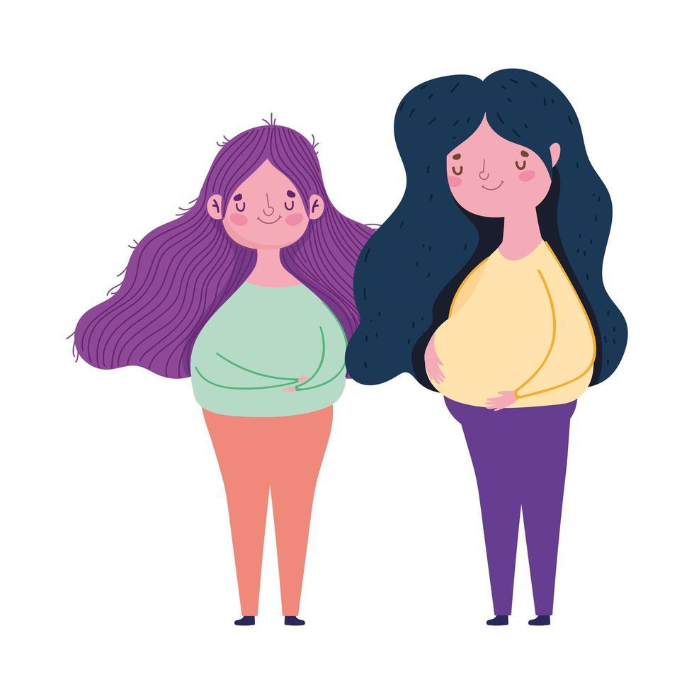 glad mors dag, unga kvinnor står tillsammans firande design vektor