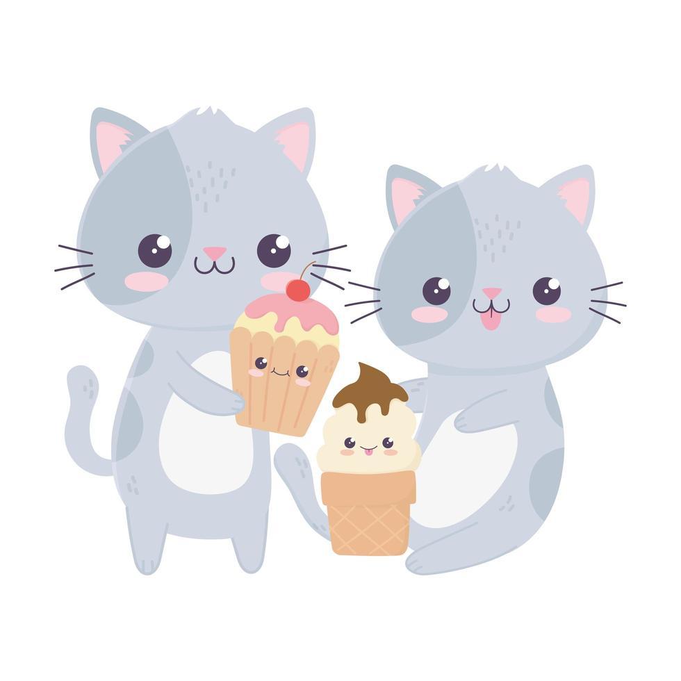 süße kleine Katzen mit Eis und Cupcake Kawaii Zeichentrickfigur vektor
