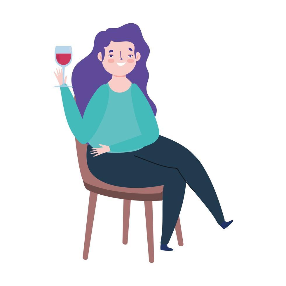 Frau Weinglas sitzen auf Stuhl lokalisiertes Ikonendesign vektor