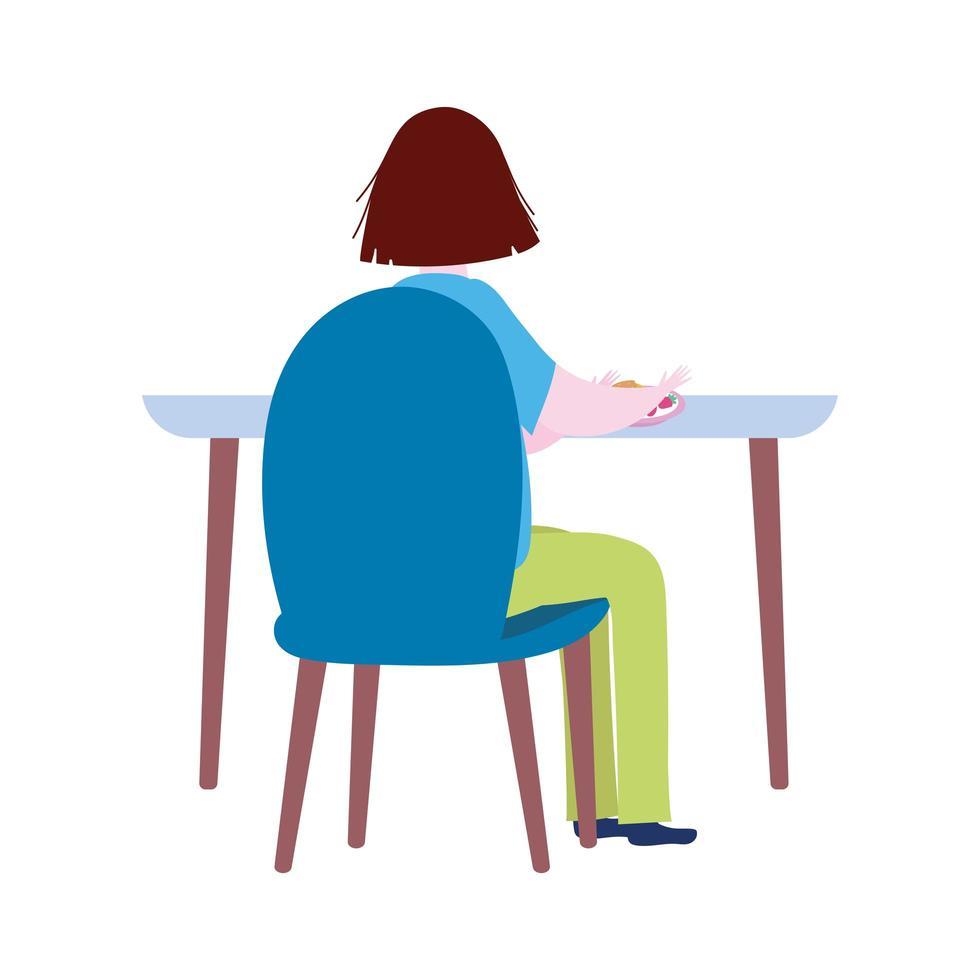 Frau, die auf dem Tisch allein Cartoon isolierte Ikone sitzt vektor
