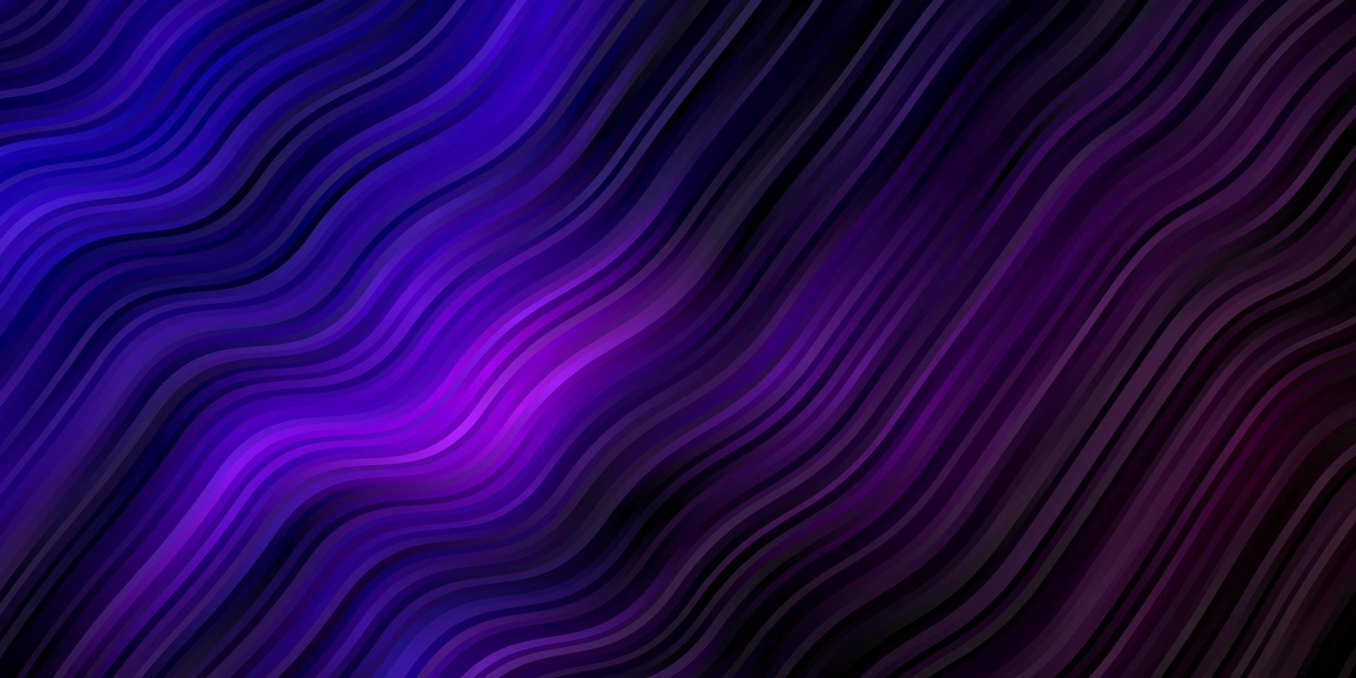 dunkelvioletter Vektorhintergrund mit gebogenen Linien. vektor