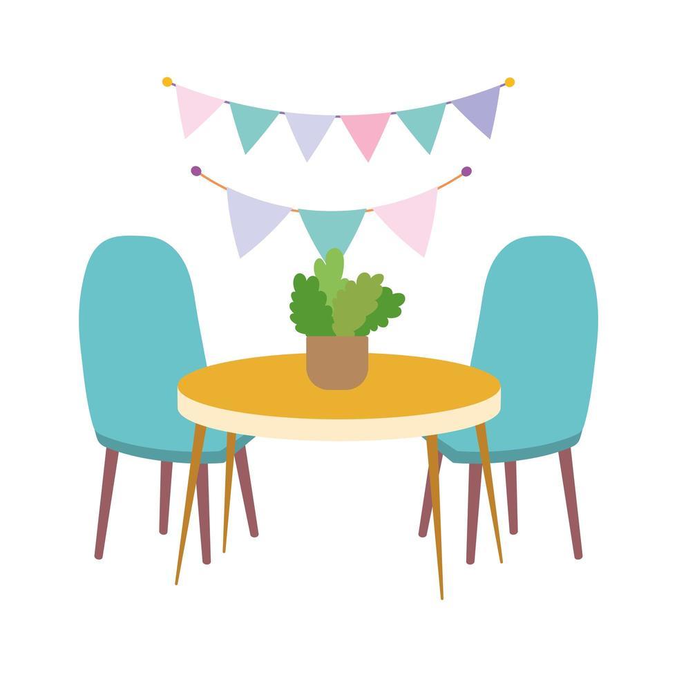 bordsstolar med växt- och dekorationsdesignikon vektor