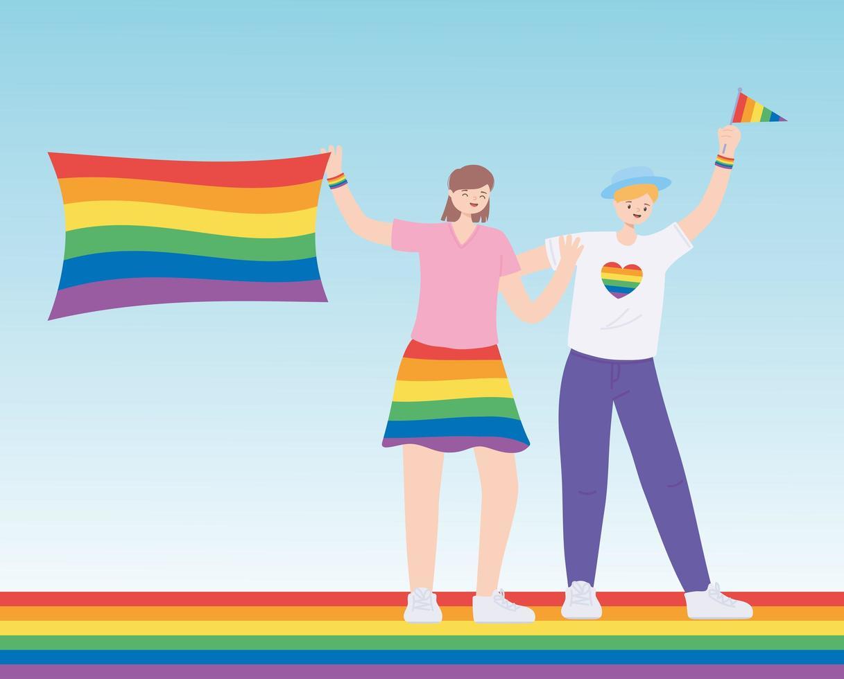 lgbtq-samhället, människor med kläder och flaggor regnbågsfärg, gayparad sexuell diskriminering protest vektor