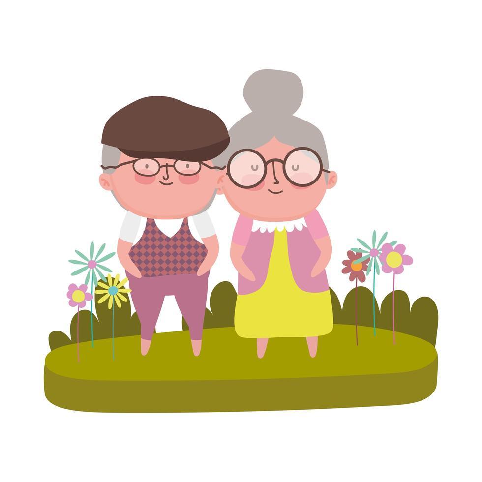 Großelterntag, Großvater und Großmutter Gras Blumen Cartoon vektor