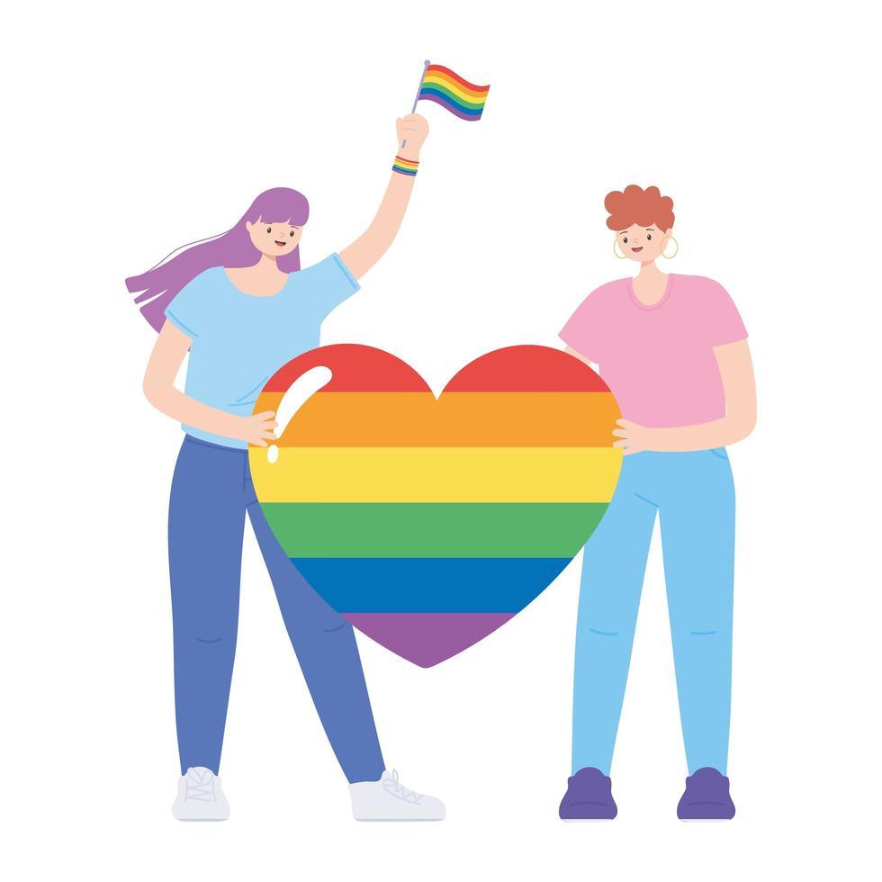 lgbtq-community, unga kvinnor har regnbågshjärtkärlek, gayparad sexuell diskriminering protest vektor