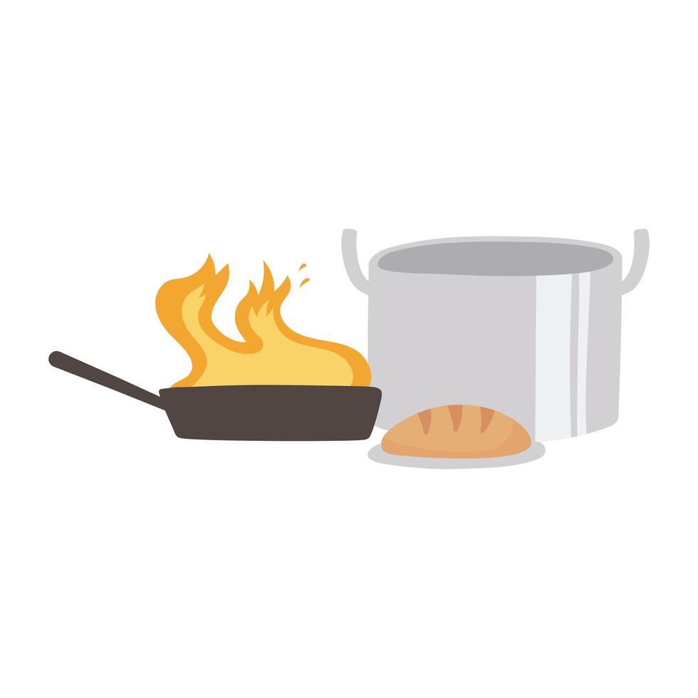 köksgryta bröd och kastrull med flamma isolerad ikon design vit bakgrund vektor