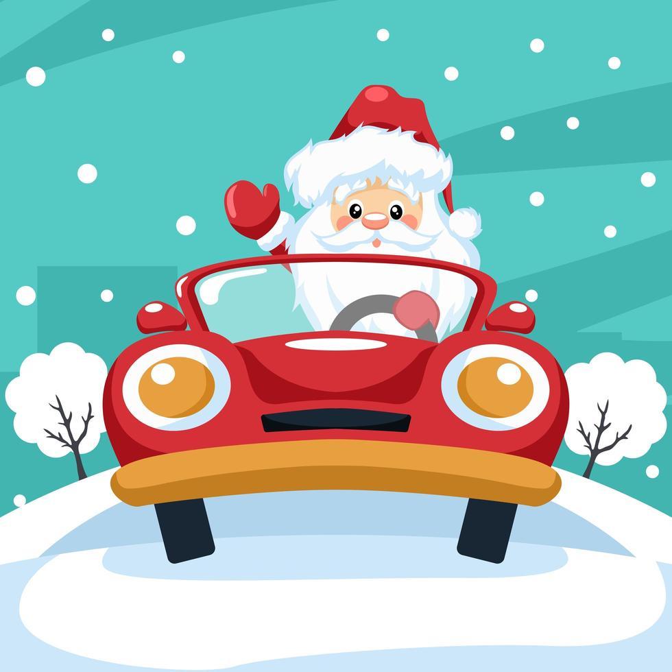 design av jultomten som kör bil vid jul vektor
