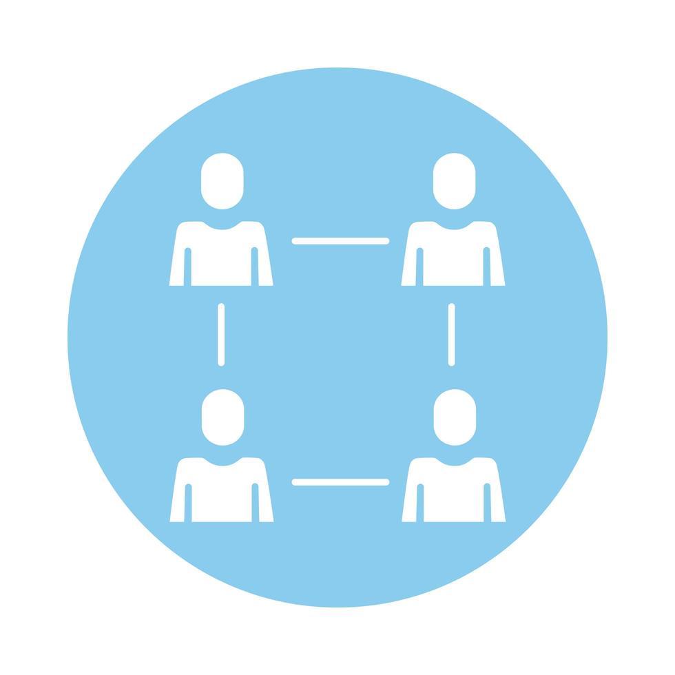 män avatarer silhuetter nätverk block stil vektor