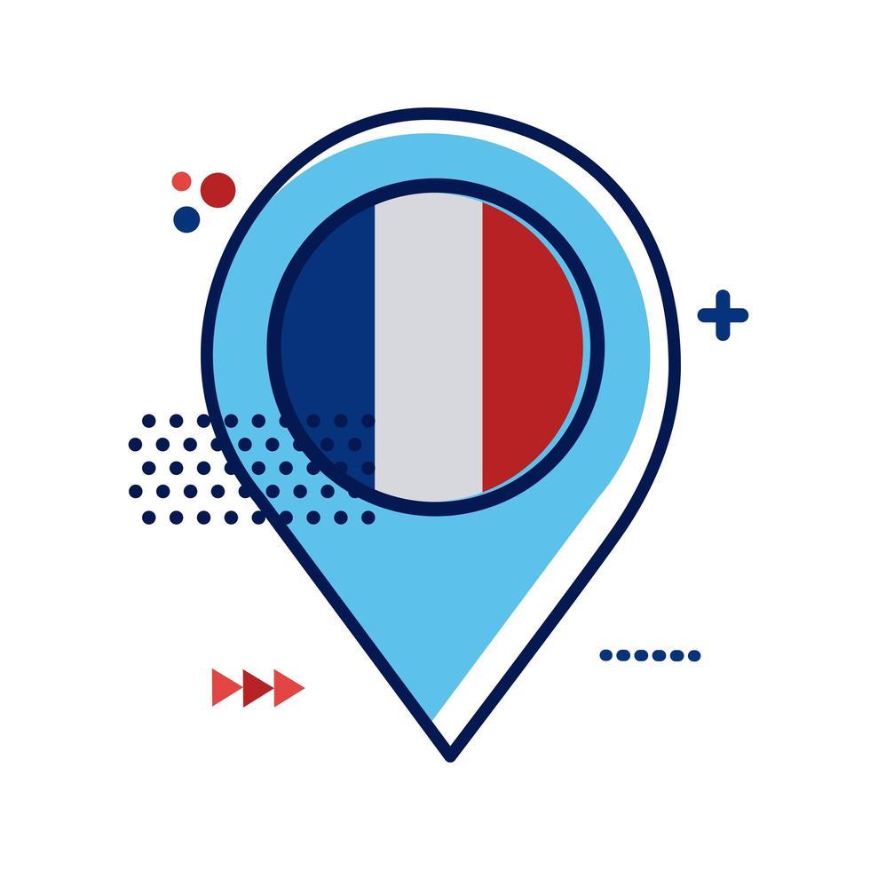 pin plats med franska flaggan platt stil vektor