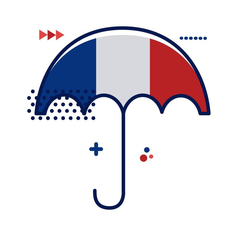 paraply med Frankrike flagga platt stil vektor