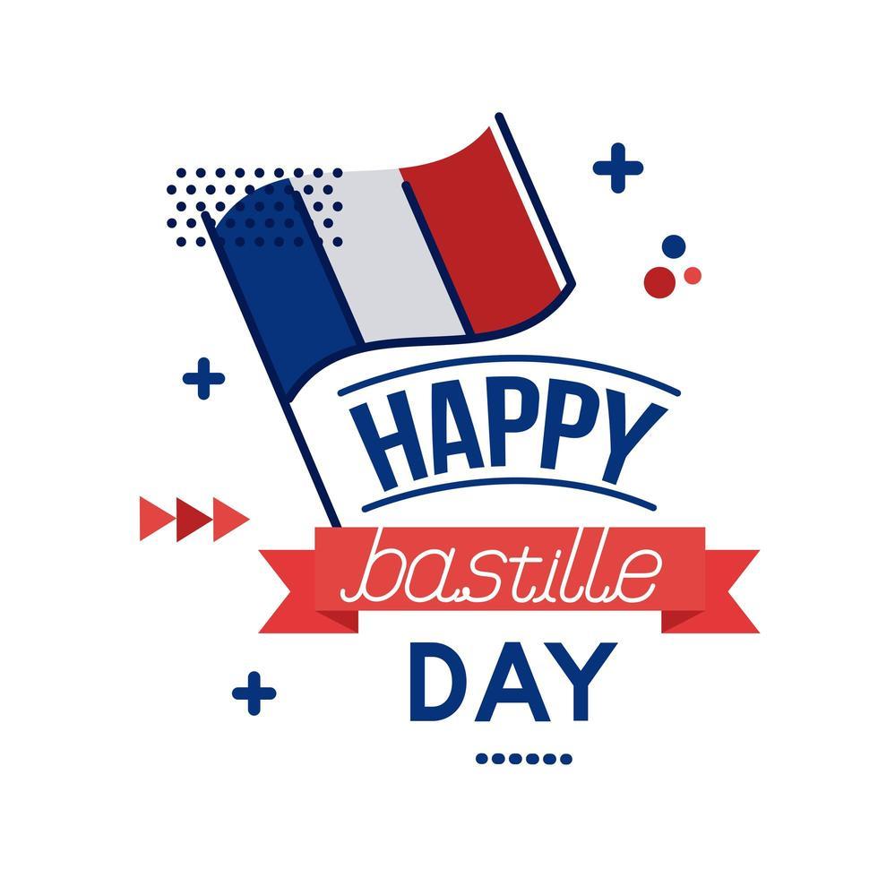 frankrike flagga och bastille dag bokstäver platt stil vektor