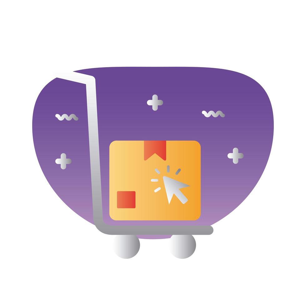 Warenkorb mit Box-Lieferung und Cursor-Farbverlaufs-Symbol vektor
