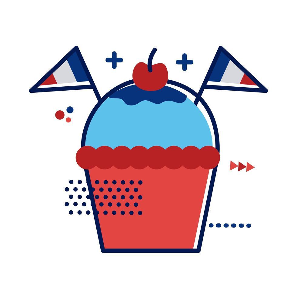 cupcake med franska flaggor platt stil vektor illustration design