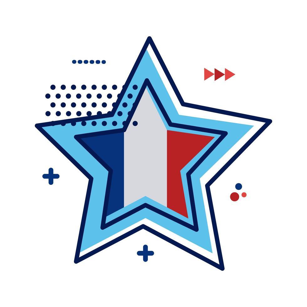 stjärna med franska flaggan platt stil vektor illustration design