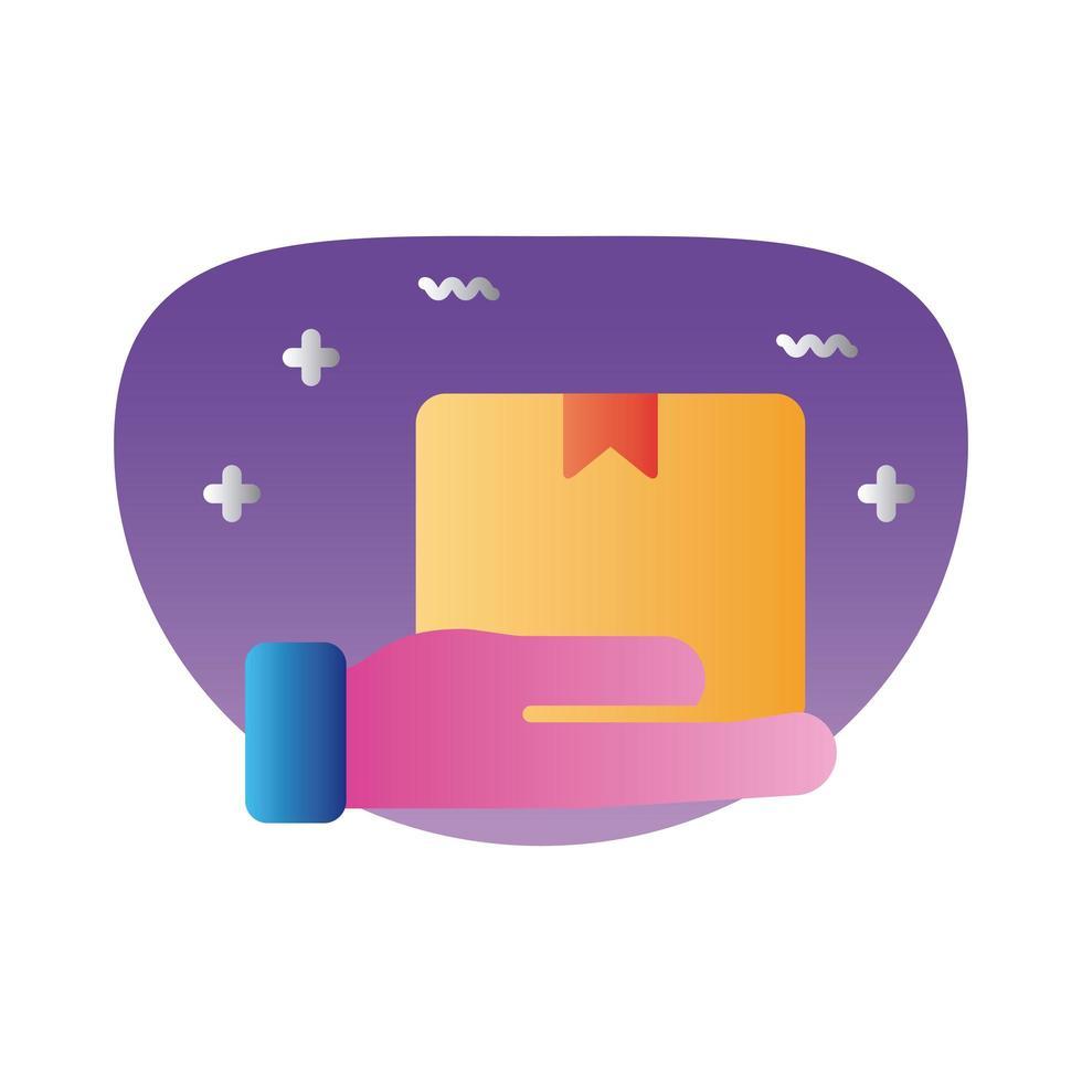 Hand mit Boxkarton Lieferung Farbverlauf Stil vektor