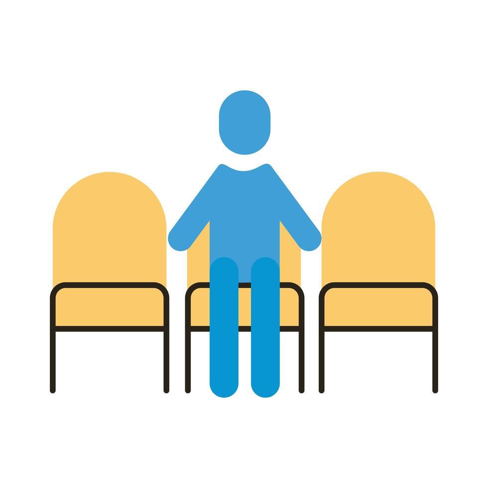 mänsklig figur i stolar med social avstånd platt stil vektor