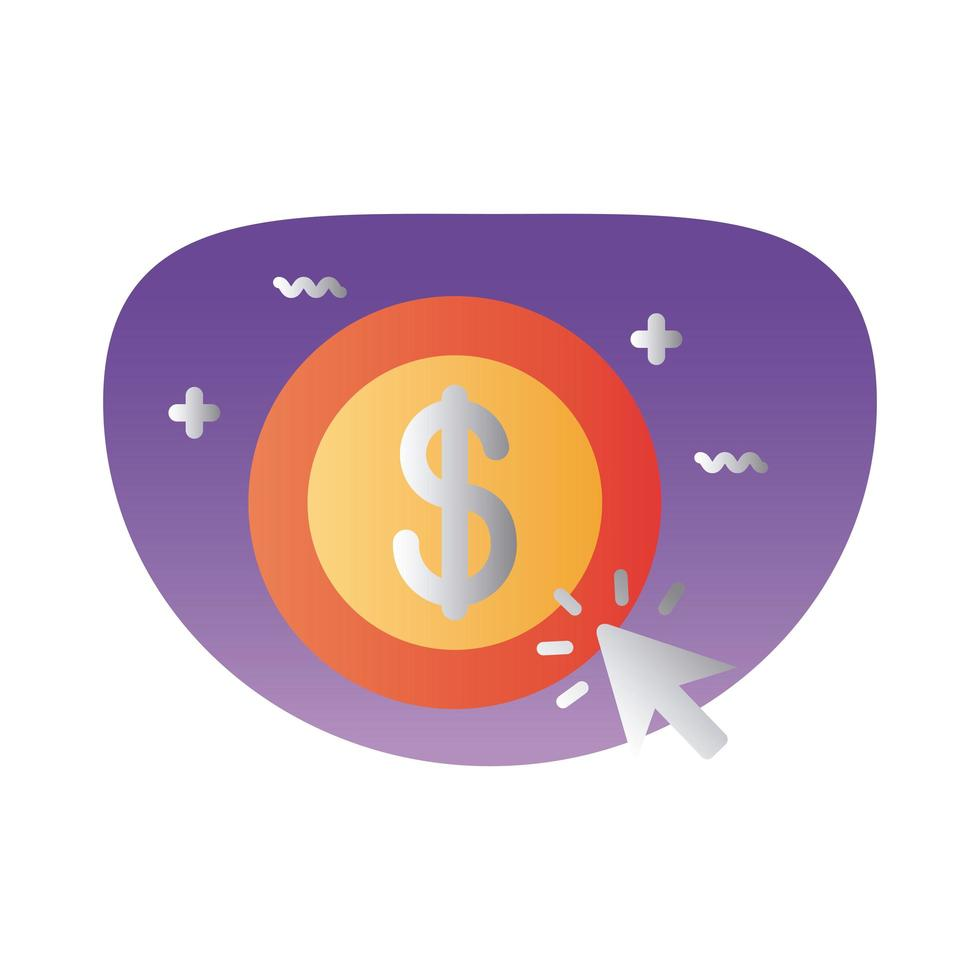 Münzgelddollar mit Mauspfeilverlaufsstil vektor