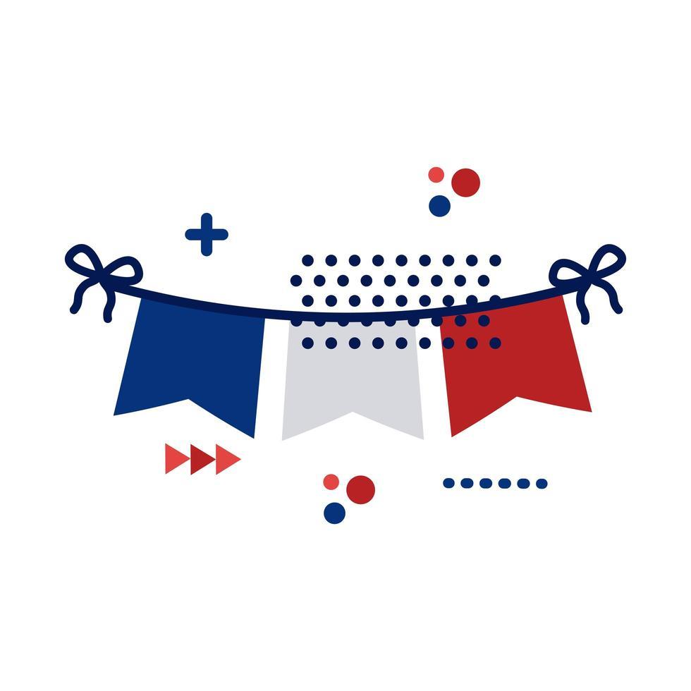 kransar med franska flaggan platt stil vektor