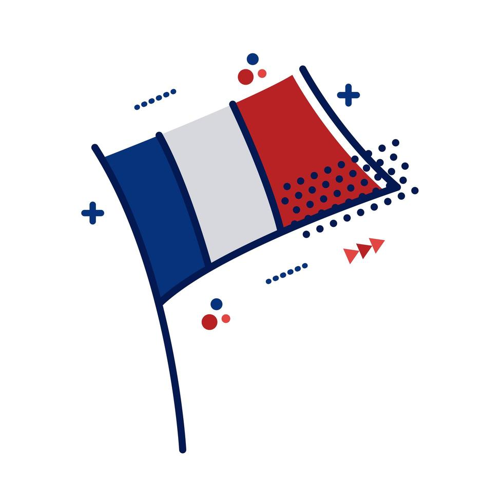 franska flaggan platt stilikon vektor