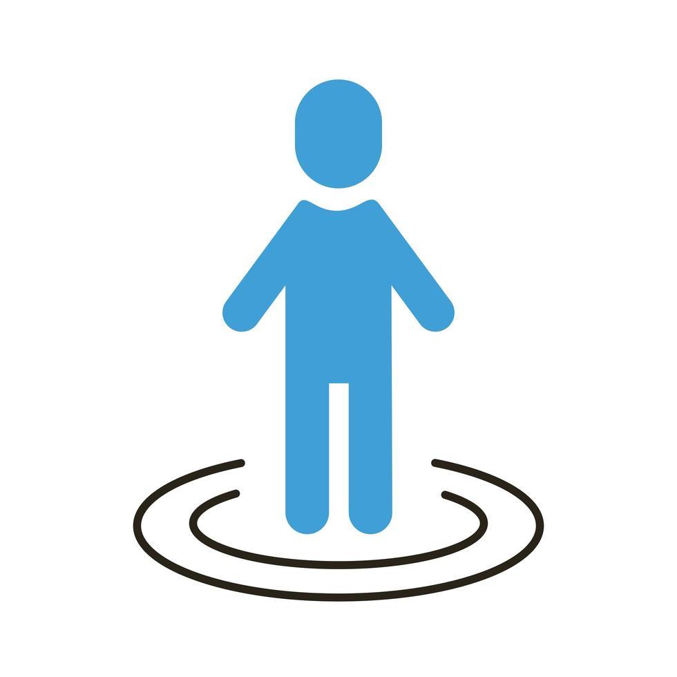 menschliche Figur mit Linien um soziale Distanz flachen Stil vektor