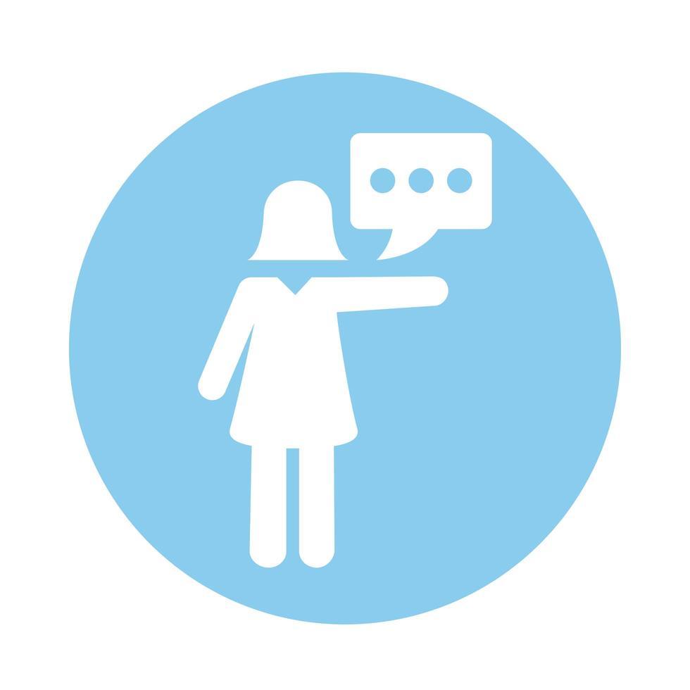 weibliche Avatar-Silhouette mit Sprechblasenblockart vektor