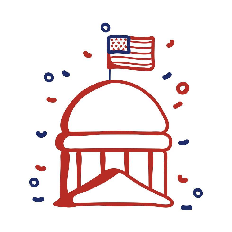 Regierungshauptstadt mit USA-Flaggenlinienart-Vektorillustrationsdesign vektor