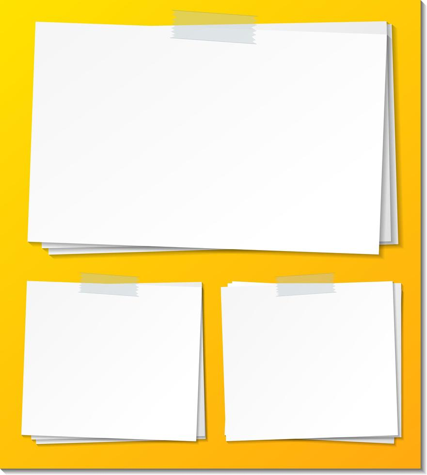 Satz leere Haftnotizpapiervorlage vektor
