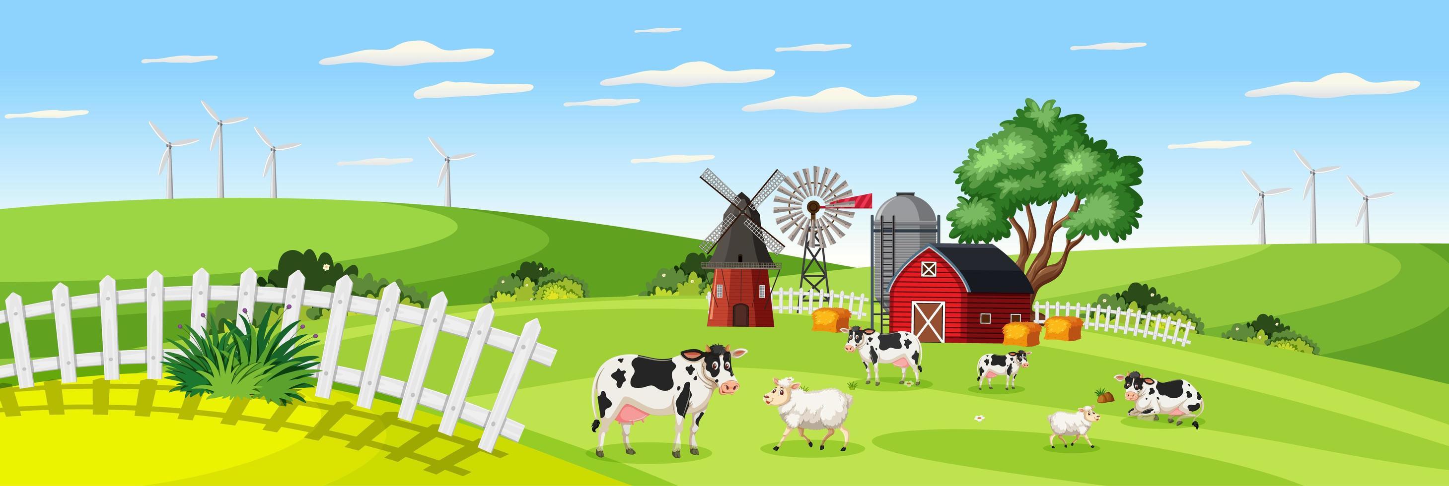 gårdslandskap med djurgård i fält och röd ladugård under sommarsäsongen vektor