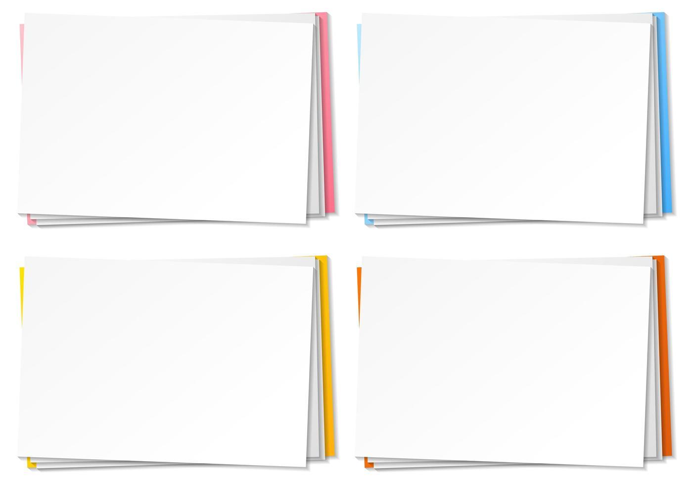 uppsättning blank pappersnotmall vektor