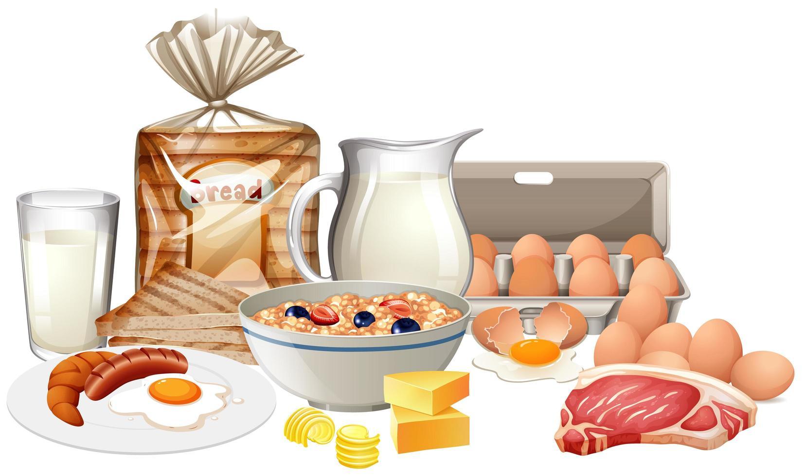 hälsosam frukost på vit bakgrund vektor