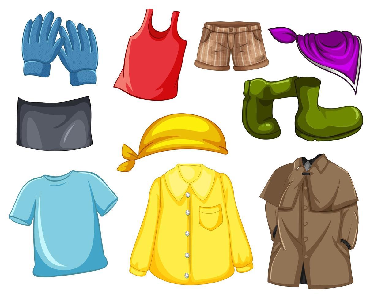 uppsättning modekläder och tillbehör på vit bakgrund vektor