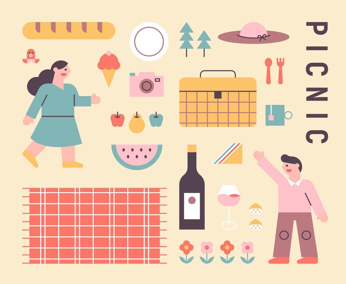Picknickpaar und Picknickikonen. vektor