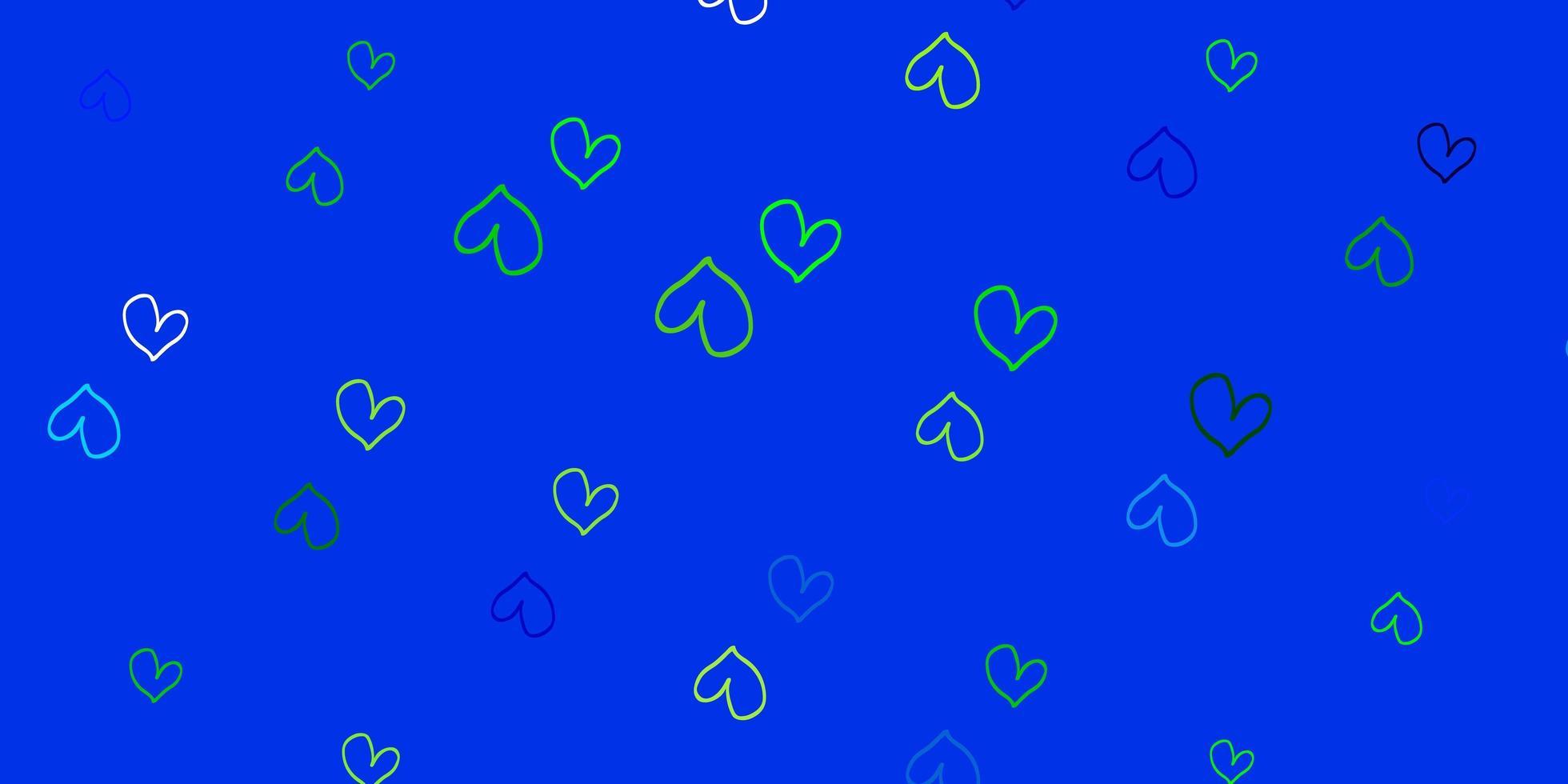 hellblauer, grüner Vektorhintergrund mit süßen Herzen. vektor