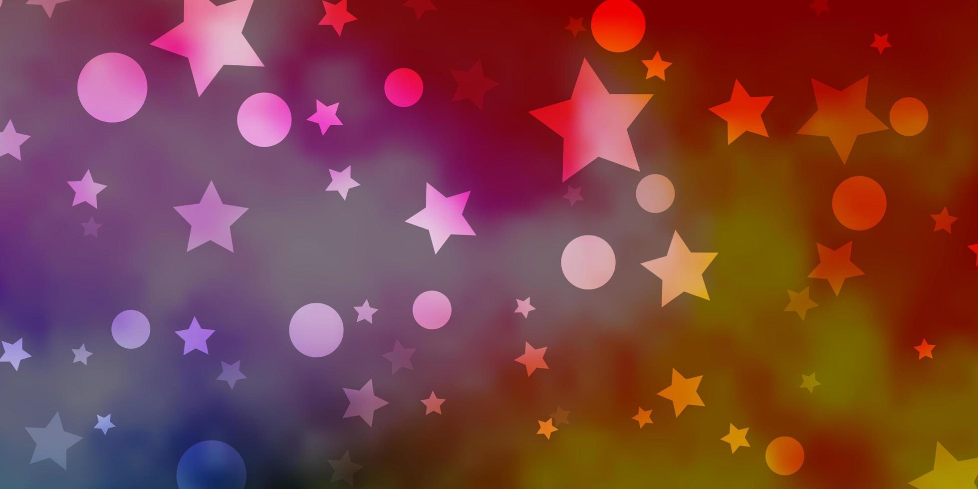 heller mehrfarbiger Vektorhintergrund mit Kreisen, Sternen. vektor