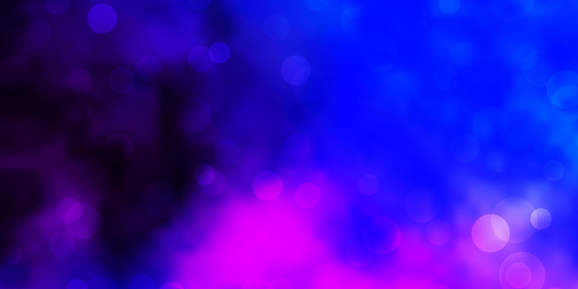 dunkelrosa, blaue Vektorbeschaffenheit mit Kreisen. vektor
