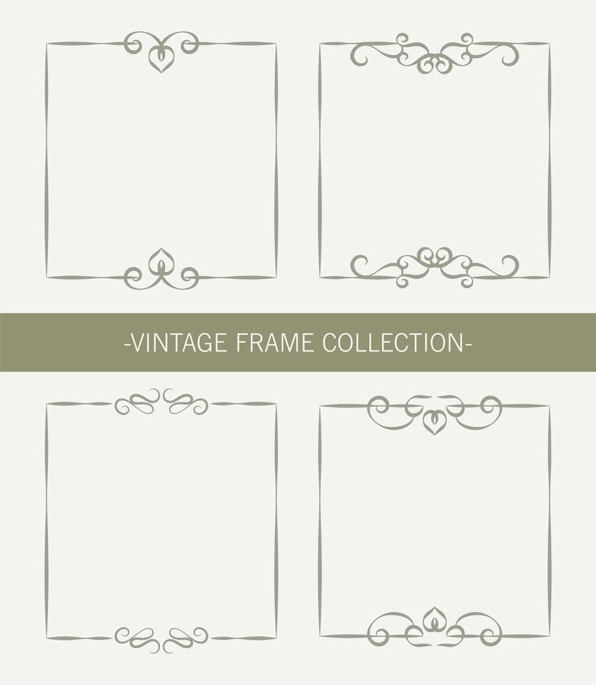 vintage prydnadsram samling uppsättning vektor